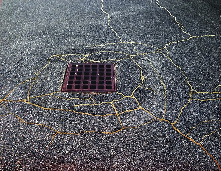 rachel sussman uses gold to 'repair' cracked sidewalks in homage to japanese 'kintsukuroi' art
