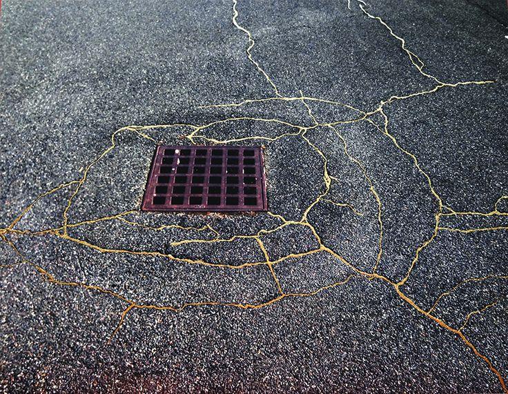 rachel sussman uses gold to 'repair' cracked sidewalks in homage to japanese 'kintsukuroi' art