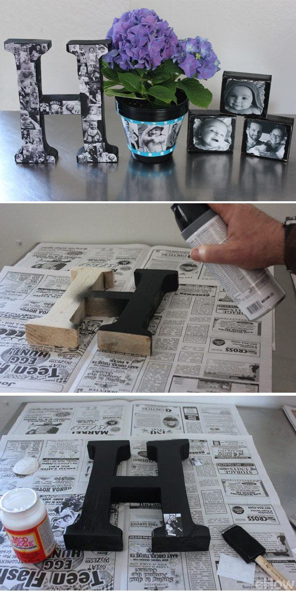 DIY Personalized Photo Gifts. Decorated the wood letters with black and white photos. This DIY photo letter is the best gift for family and friends.