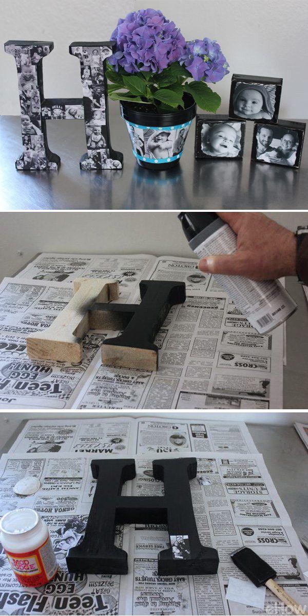Regalos personalizados de la foto de DIY.  Decorado las letras de madera con fotos en blanco y negro.  Esta carta foto de DIY es el mejor para los amigos y familiares.