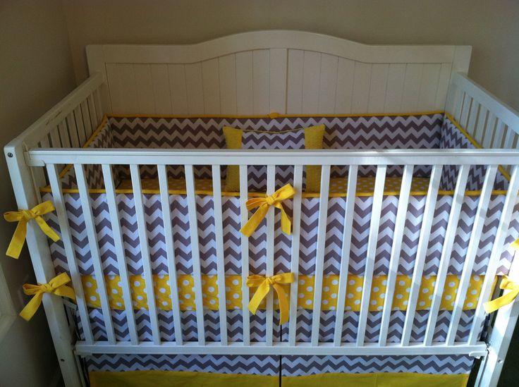 Modern Purple And Gray Chevron And Polka Dot Crib Bedding