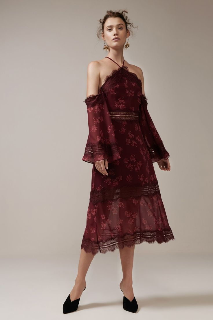 Keepsake - Moonlight Midi Dress- Plum Floral