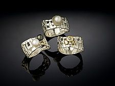 """Woven Basket Rings, 3 Way by Chi Cheng Lee (Silver & Pearl Ring) (0.25"""" x 0.5"""")"""