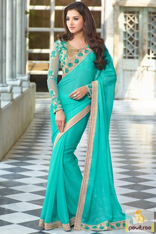 Fashionable turquoise color chiffon embroidery work saree online shopping with discount sale and offer. Purchase this party wear designer saree at www. pavitraa.in. #saree, #chiffonsaree more: http://www.pavitraa.in/store/chiffon-saree/