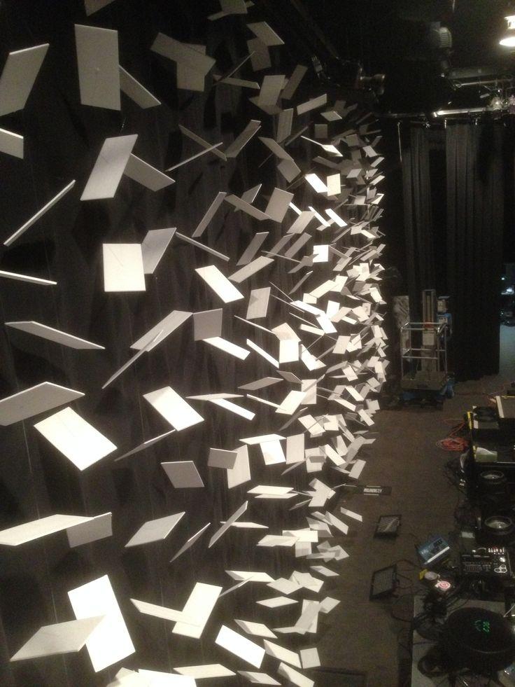 Back Wall Unlit. Fishing line holding white cards against black backdrop