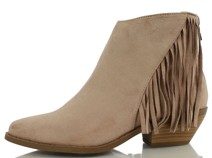 Soda Women's Volley Taupe Brown Faux Suede Fringe Moccasin Ankle Boot | eBay