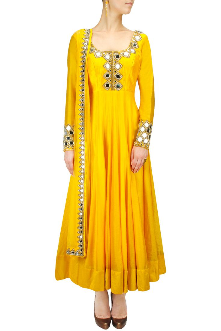 Sunny yellow mirror work anarkali set BY ARPITA MEHTA. Only wish it had a contrasting or textured border instead if the current yellow border at the base.