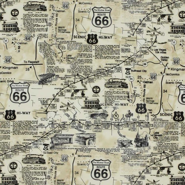 Timeless Treasures Route 66 Map Natural, 44-inch (112cm) Wide Cotton Fabric Yardage MAP-C7529-NATURAL - Emerald City Fabrics