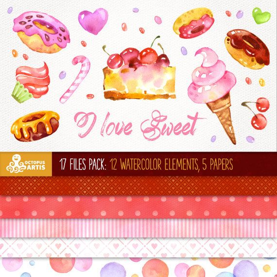 I love Sweet: 17 files Digital Pack (12 watercolor sweet elements, 5 backgrounds) paper crafts, scrapbooking.