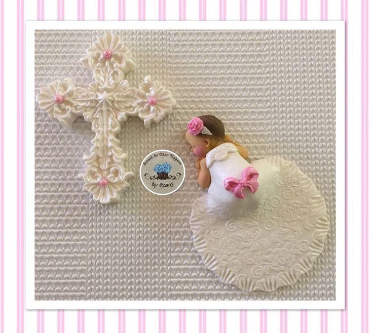 White Cross & Baby Girl In Gown Christening Cake Topper. Decoration. Baptism  | eBay