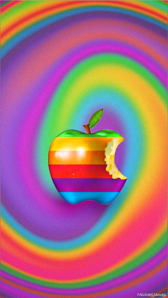 Download Rainbow Swirl Apple 640 x 1136 Wallpapers - 4529795 - Apple Logo Old Swirl | mobile9