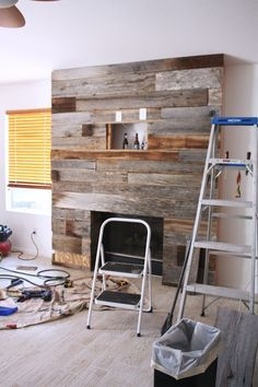 Instructions on how to create the DIY reclaimed wood fireplace