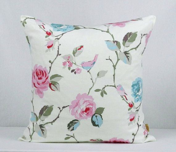 24x24 Pillow cover Decorative throw pillow Agatha 24 inch pillow Sham case,Floral vintage shabby chic Pink cushion Blue Handmade pillow.  From:  honeybeedesign20