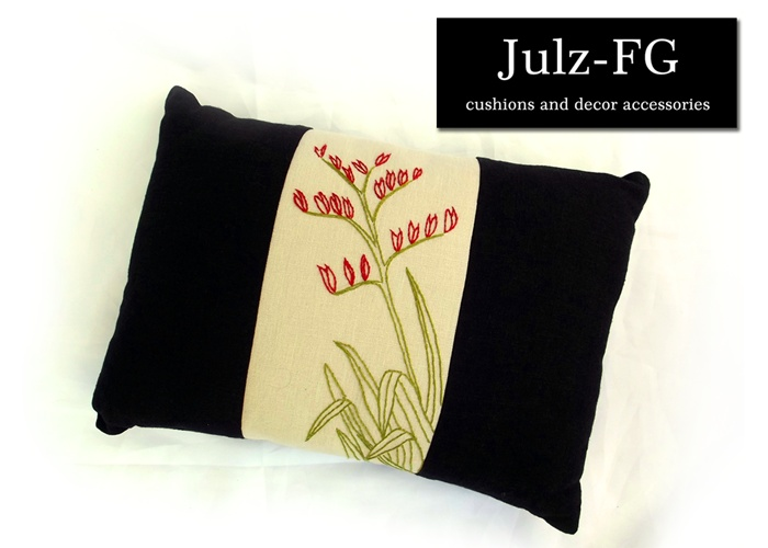 Artiflax - contest - 2nd Place Prize Pack  Beautiful hand embroided linen cushion by Julz-FG cushions and decor accessories