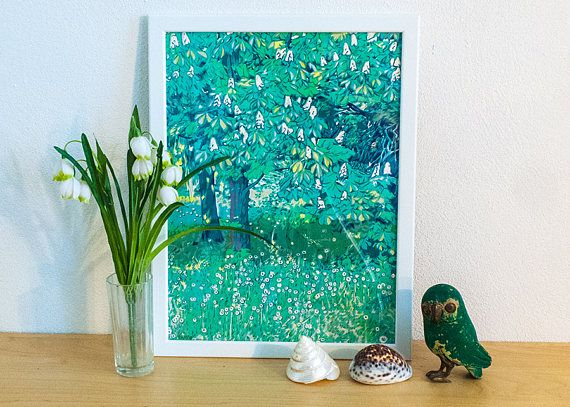 Blossoming chestnut serigraph   chestnut painting  chestnut