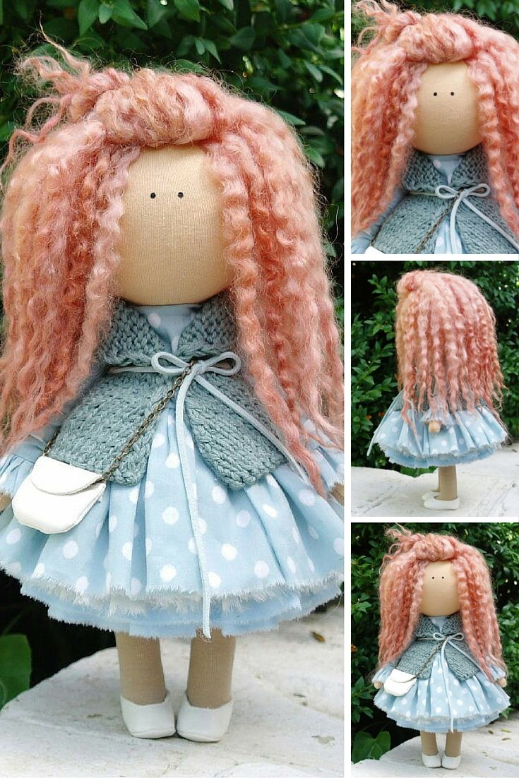 Curly doll handmade Tilda doll Rag doll Art doll red aqua colors soft doll Cloth…