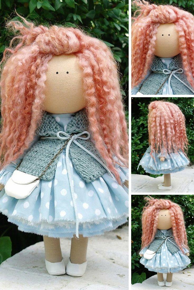 Curly doll handmade Tilda doll Rag doll Art doll red aqua colors soft doll Cloth…