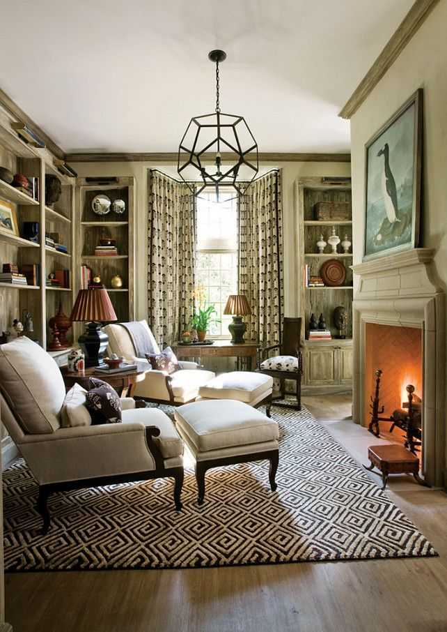 Cozy Study With Bookcases And Fireplace Flooring Is A Ceruse Wood Finish