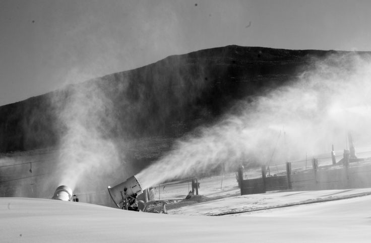 Snow cannons all fired up at Afriski and covering the slope with fresh snow #lesotho # goneskiing #snow