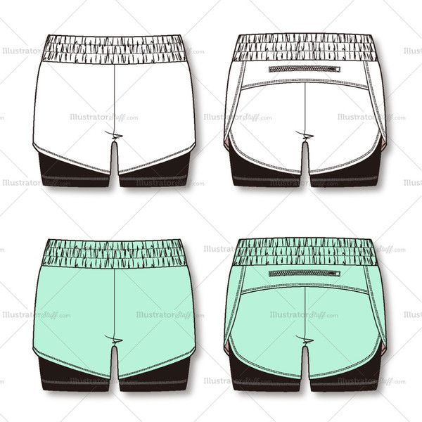 *Attached tight shorts for coverage and support. *The back zipper pocket .*Elastic waistband.