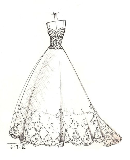 Wedding Dress Line Drawing : Wedding dress sketches details fashion design drawings