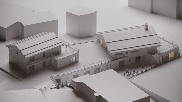 Transformation Centre Commercial Architecture Verbier Ski Alps 3D Printing Architecture 3D White Model Render #architecture #projet #centre commercial #maquette #noiretblanc