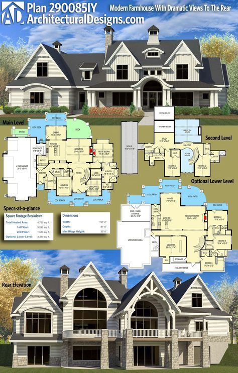 gives you over 4,700 square feet of heated living space, 3+ beds and 3.5+ baths with an optional lower level (+3,300 sq. ft.)  Like the layout- front and back