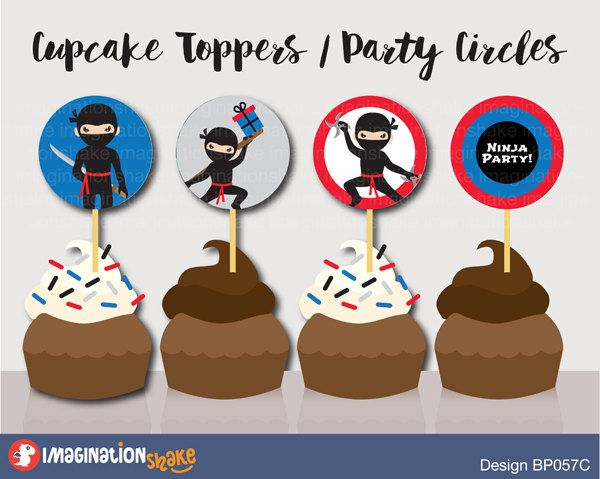 Ninja Birthday Party Cupcake Toppers Party Circles PRINTABLE / Party Printables / Black Red Ninjas Decorations Boy's Birthday Printables Set - pinned by pin4etsy.com