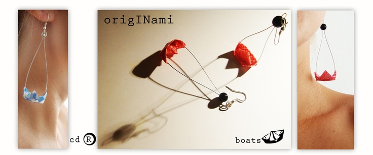 Originami boats are earrings,they are made of paper in origami technique and laquered to be firm and longlasting