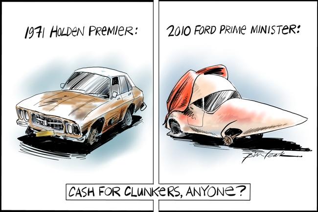 Cash for Clunkers, Leak, The Australian | Political Cartoons Australia