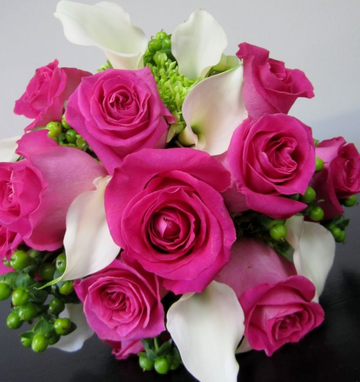 Image result for hot pink roses white lily centerpiece