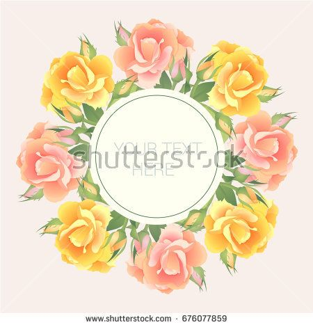 Postcard (wedding invitation) in pastel colors with roses