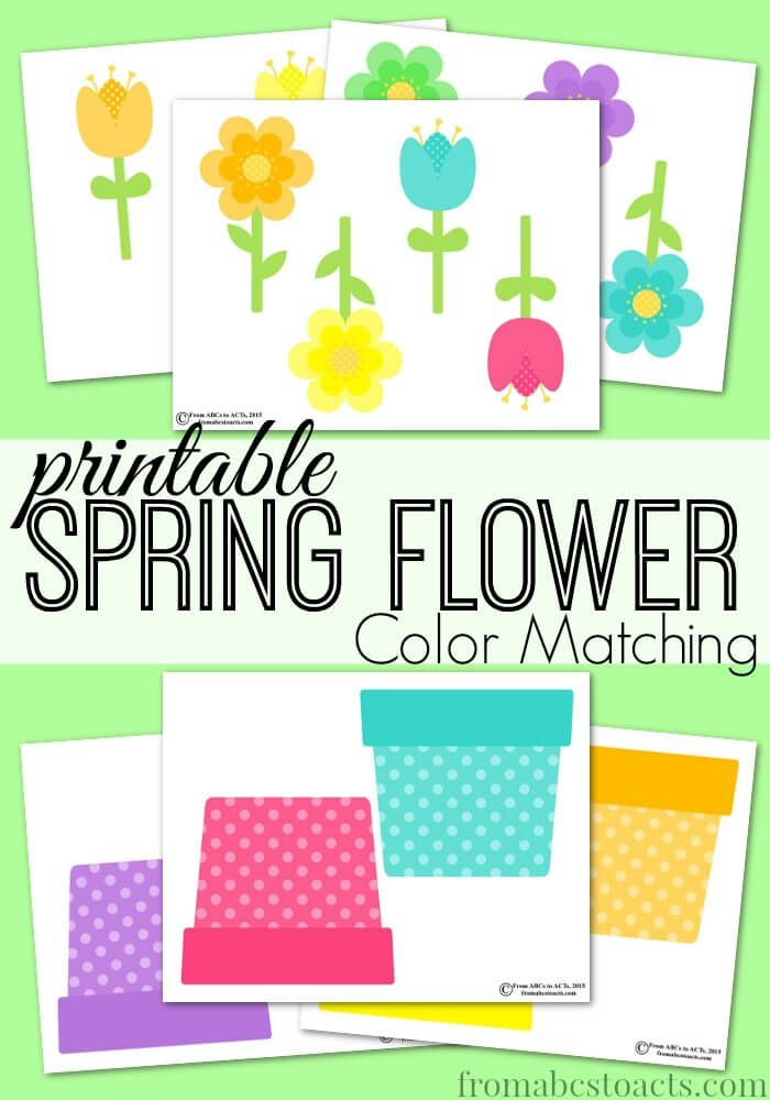 printable spring flower color matching - Color Games For Toddlers