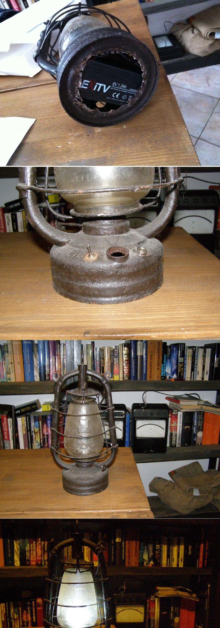 Una lanterna dei primi del 900, completamente arrugginita, sfondata inservibile. all'interno ho collocato una batteria al piombo da 6V, interruttore e apposito orifizio di ricarica. Per ora fa una luce troppo fredda, in progetto un filtro rotante giallo arancio per simulare la fiamma.