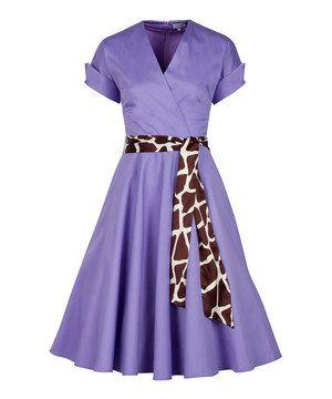 This Lavender Purple Giraffe Safari Retro A-Line Dress by Smart Dress is perfect! #zulilyfinds