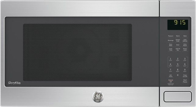 GE - 1.5 Cu. Ft. Mid-Size Microwave - Stainless steel - Front Zoom