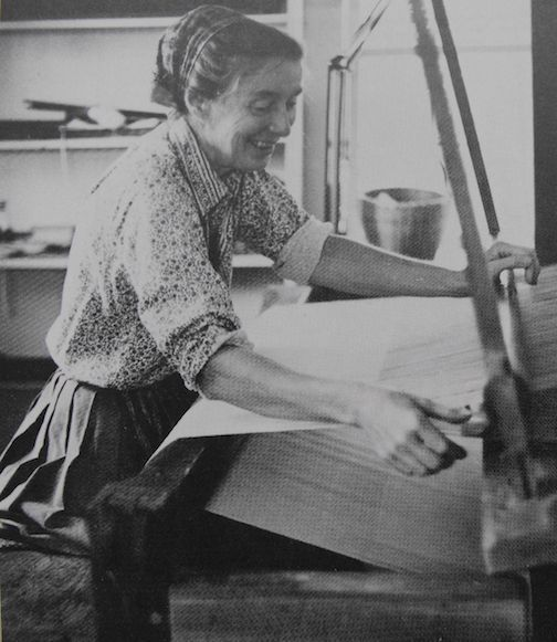 American illustrator TASHA TUDOR. She was adept at 'Heirloom Crafts', though she detested the term, including candle dipping, weaving (as seen here), soap making, doll making and knitting