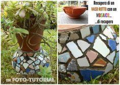 decoriciclo: Recupero di un vaso rotto di terracotta con un mosaico di recupero; tutorial fotografico passo passo