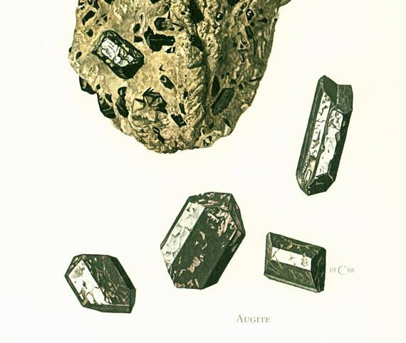 Geological Wall Art. Antique Mineralogy Print. Mineral wall art. Vintage geology art. Gift idea for geologist student. Gemstones illustrations.  Published in Paris. 45 year... #普通輝石 #augite #monoclinic #prismatic