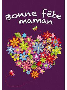 A imprimer pour la Fête des mères, une carte de voeux cœur et fleurs