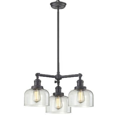 Innovations Lighting Glass Bell 3 Light Shaded Chandelier Finish: Oiled Rubbed Bronze, Shade Color: Smoked