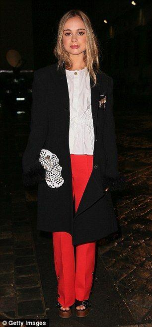 Kooky: She accessorized her outfit with a kooky polka dot clutch bag