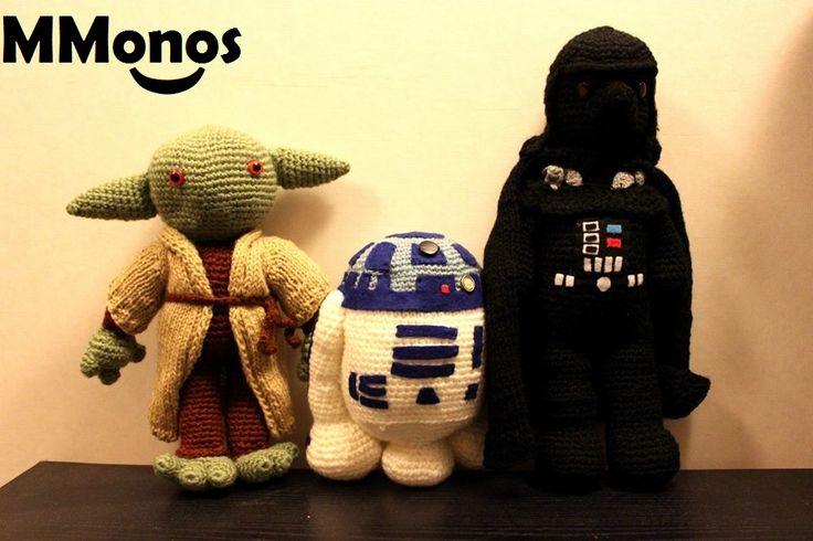 Trilogía Star Wars Yoda, R2-D2 y Darth Vader.   MMonos, hecho con mis manos. Cartagena, Chile Tejidos de mi para ti.