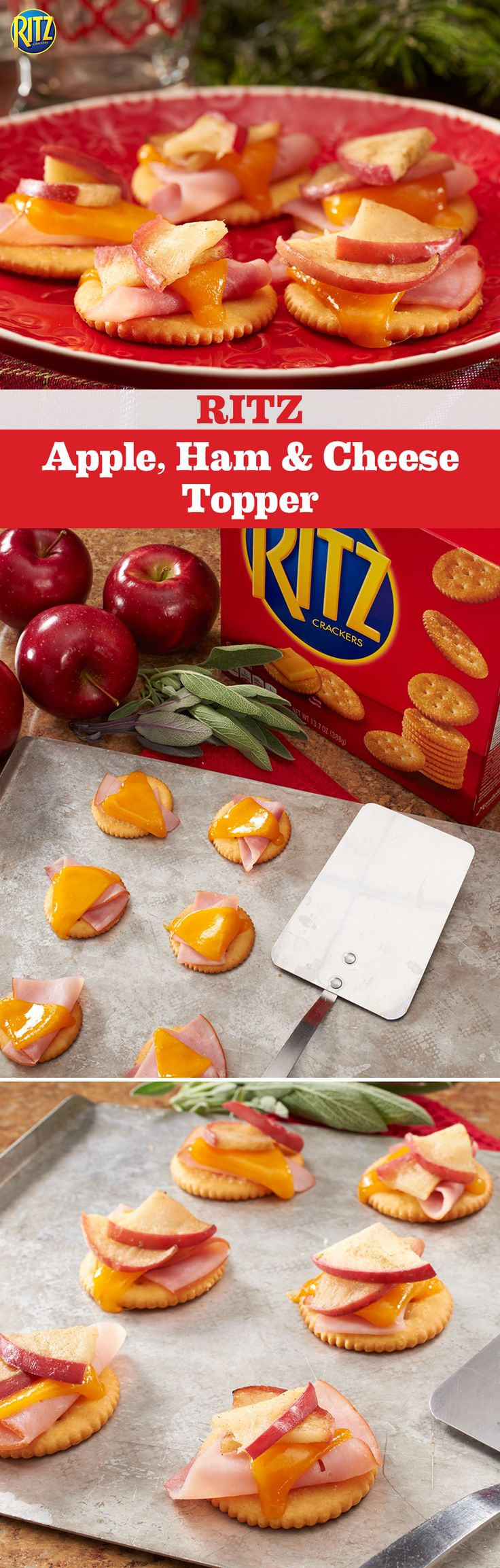 Enjoy apple season over the holidays with our RITZ Apple, Ham & Cheese Bites. Place ham, melted cheddar cheese and a buttery apple topping on a RITZ and you'll have the perfect combination of sweet and savory.
