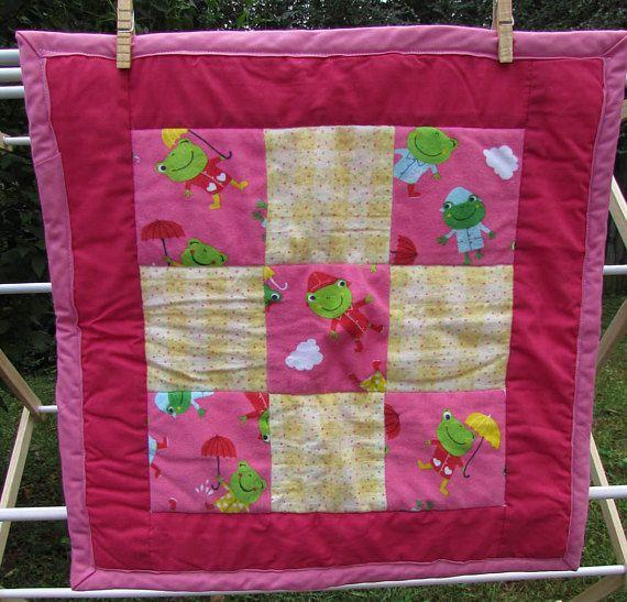Frog Nursery, Frog Baby Quilt, Umbrella Baby Shower, Pink Baby Gift, Frog Baby Shower, Raining Baby Shower, Pink Baby Girl, For Baby Girl