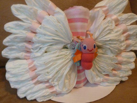 Beautiful BUTTERFLY Diaper Cake for Baby GIRL by BabyCakeLane, $29.95