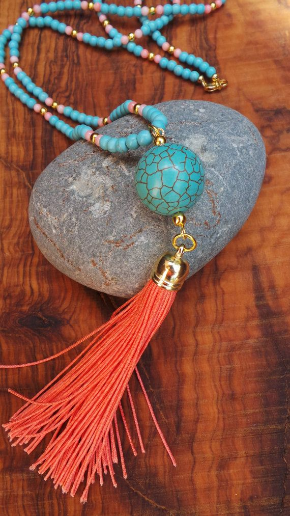 Long beaded turquoise and coral tassel by AllAboutEveCreations