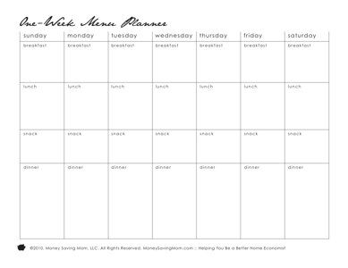 "Menu planner templates....I love to write it down and have a plan. Saves time and hassle of having to think of something to cook. Just look at the ""menu"""