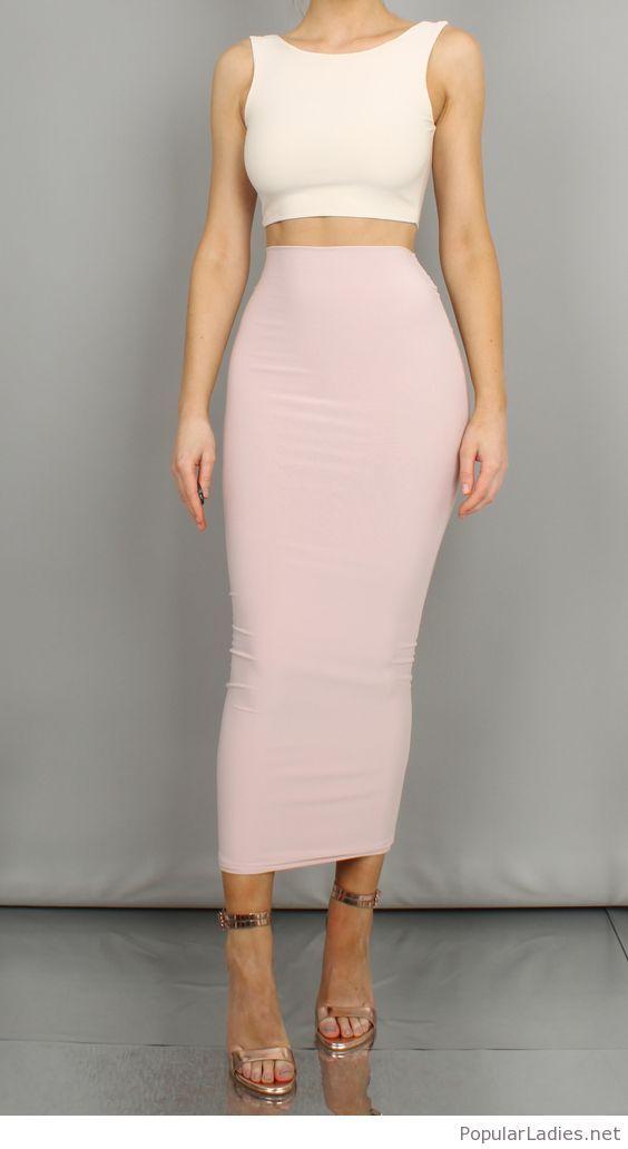 Long light pink skirt and crop top