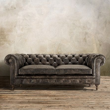 "Wessex 92"" Tufted Leather Sofa in Bronco Iron 